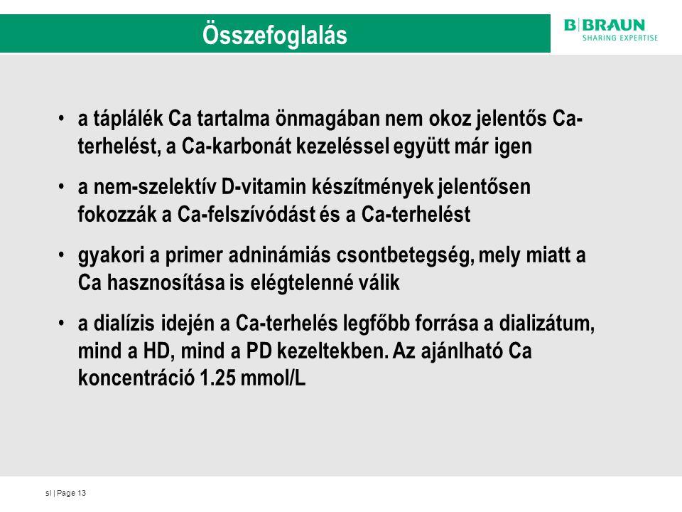 sl | Page13 Összefoglalás a táplálék Ca tartalma önmagában nem okoz jelentős Ca- terhelést, a Ca-karbonát kezeléssel együtt már igen a nem-szelektív D