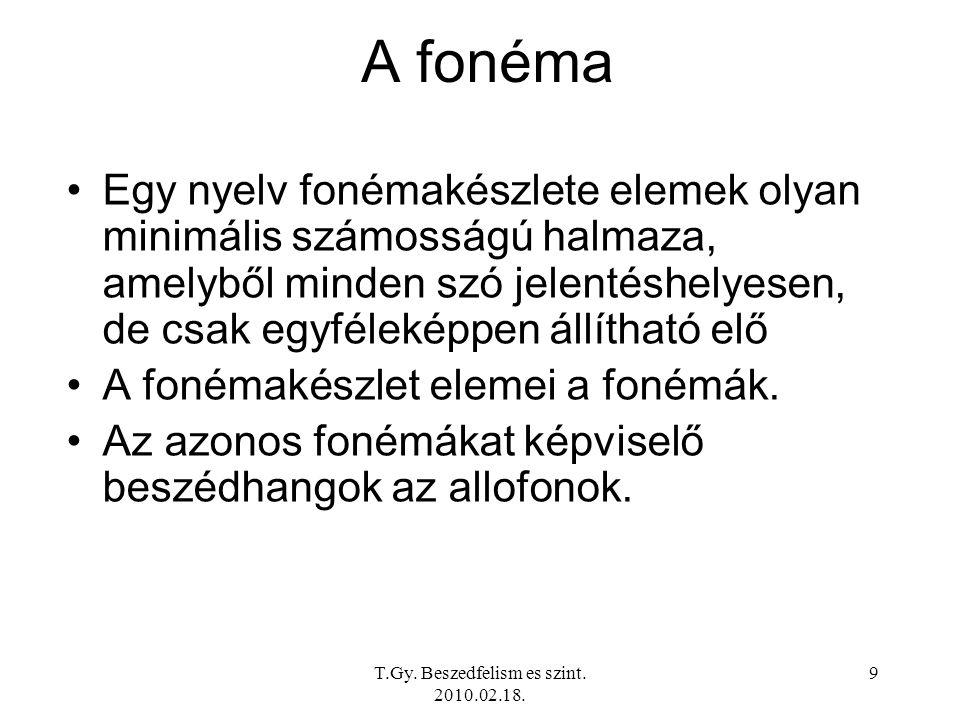 T.Gy. Beszedfelism es szint. 2010.02.18. 9 A fonéma Egy nyelv fonémakészlete elemek olyan minimális számosságú halmaza, amelyből minden szó jelentéshe