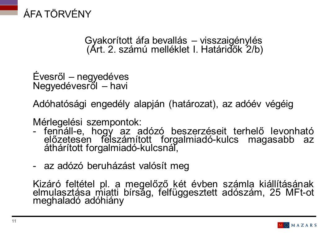 ÁFA TÖRVÉNY Gyakorított áfa bevallás – visszaigénylés (Art. 2. számú melléklet I. Határidők 2/b) Évesről – negyedéves Negyedévesről – havi Adóhatósági