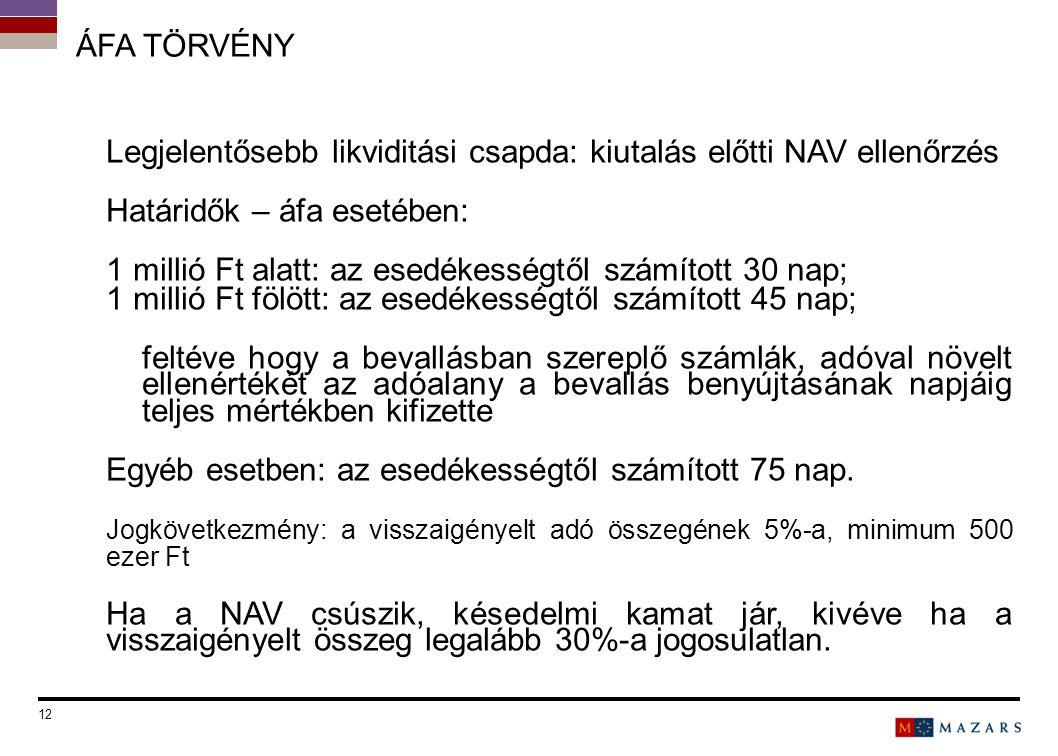 ÁFA TÖRVÉNY Legjelentősebb likviditási csapda: kiutalás előtti NAV ellenőrzés Határidők – áfa esetében: 1 millió Ft alatt: az esedékességtől számított