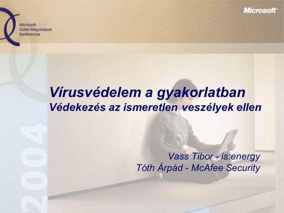 Vírusvédelem a gyakorlatban Védekezés az ismeretlen veszélyek ellen Vass Tibor - is:energy Tóth Árpád - McAfee Security