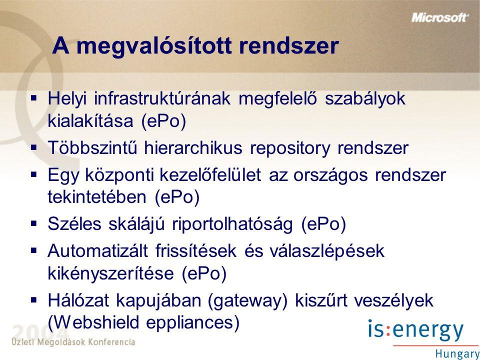 A megvalósított rendszer  Helyi infrastruktúrának megfelelő szabályok kialakítása (ePo)  Többszintű hierarchikus repository rendszer  Egy központi