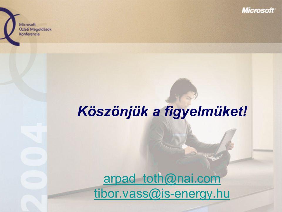 Köszönjük a figyelmüket! arpad_toth@nai.com tibor.vass@is-energy.hu arpad_toth@nai.com tibor.vass@is-energy.hu