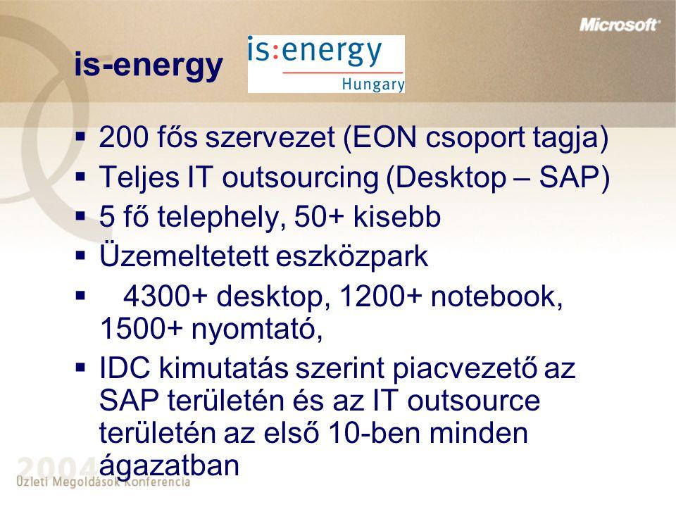 is-energy  200 fős szervezet (EON csoport tagja)  Teljes IT outsourcing (Desktop – SAP)  5 fő telephely, 50+ kisebb  Üzemeltetett eszközpark  430