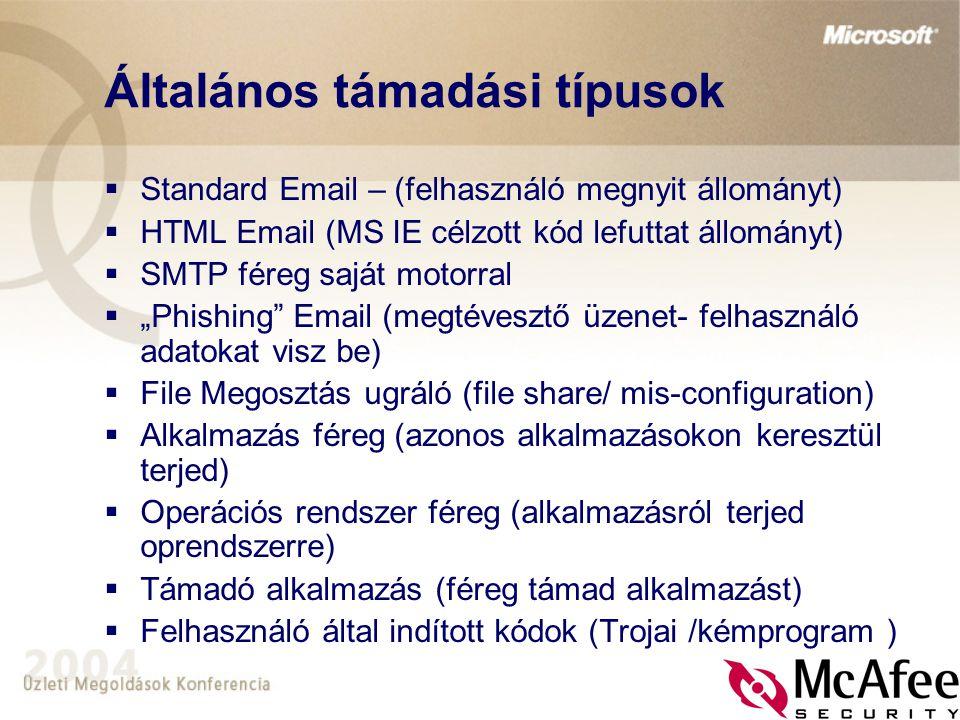 Általános támadási típusok  Standard Email – (felhasználó megnyit állományt)  HTML Email (MS IE célzott kód lefuttat állományt)  SMTP féreg saját m