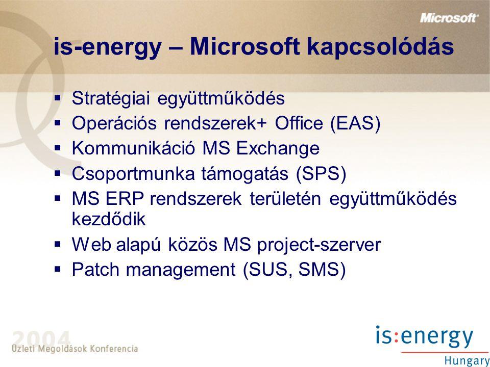 is-energy – Microsoft kapcsolódás  Stratégiai együttműködés  Operációs rendszerek+ Office (EAS)  Kommunikáció MS Exchange  Csoportmunka támogatás