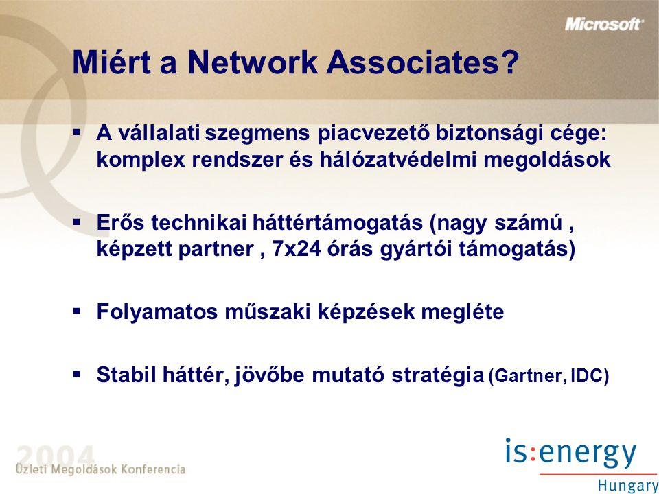 Miért a Network Associates?  A vállalati szegmens piacvezető biztonsági cége: komplex rendszer és hálózatvédelmi megoldások  Erős technikai háttértá
