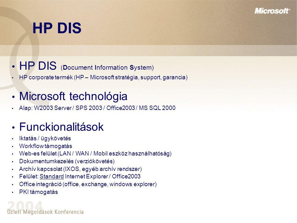 HP DIS HP DIS (Document Information System) HP corporate termék (HP – Microsoft stratégia, support, garancia) Microsoft technológia Alap: W2003 Server