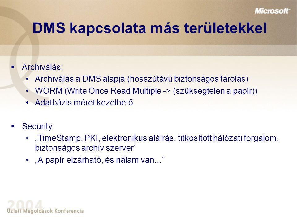 """""""Tipikus DMS projekt  Igények megfogalmazói az üzleti területek: papír alapú lassú ügyintézés nehézkes, költséges tárolás (lokális operatív irattárakban, ügyfélszolgálati pontokon méregdrága a papírtárolás) továbbítás költséges, nehézkes dokumentum megosztás nem lehetséges papíron  Probléma megoldásával megbízott szervezet: Informatika (nincs kontroll az üzleti területeken)  Megrendelő Üzleti terület (kivéve adatbázis archiválás)  Átvevő Üzleti terület / Informatika"""