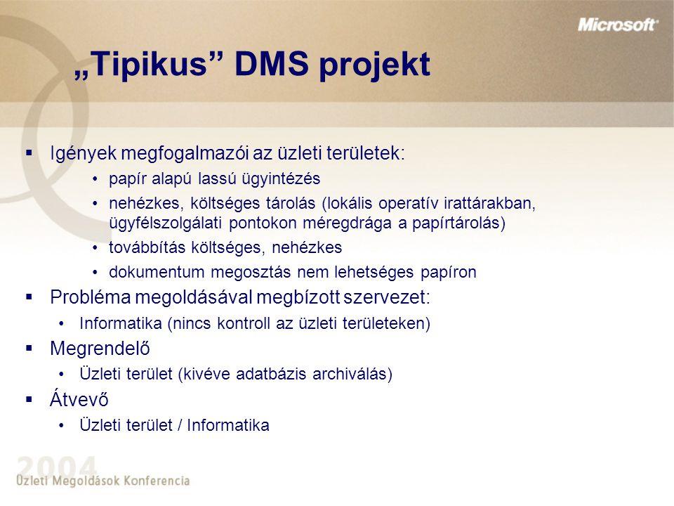"""""""Tipikus"""" DMS projekt  Igények megfogalmazói az üzleti területek: papír alapú lassú ügyintézés nehézkes, költséges tárolás (lokális operatív irattára"""