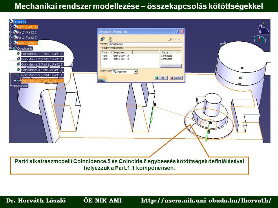 Dr. Horváth László ÓE-NIK-AMI http://users.nik.uni-obuda.hu/lhorvath/ Part4 alkatrészmodellt Coincidence.5 és Coincide.6 egybeesés kötöttségek definiá