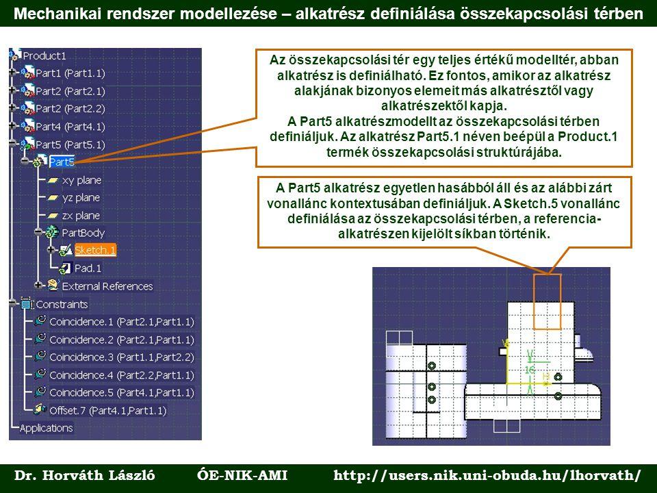 Dr. Horváth László ÓE-NIK-AMI http://users.nik.uni-obuda.hu/lhorvath/ Az összekapcsolási tér egy teljes értékű modelltér, abban alkatrész is definiálh