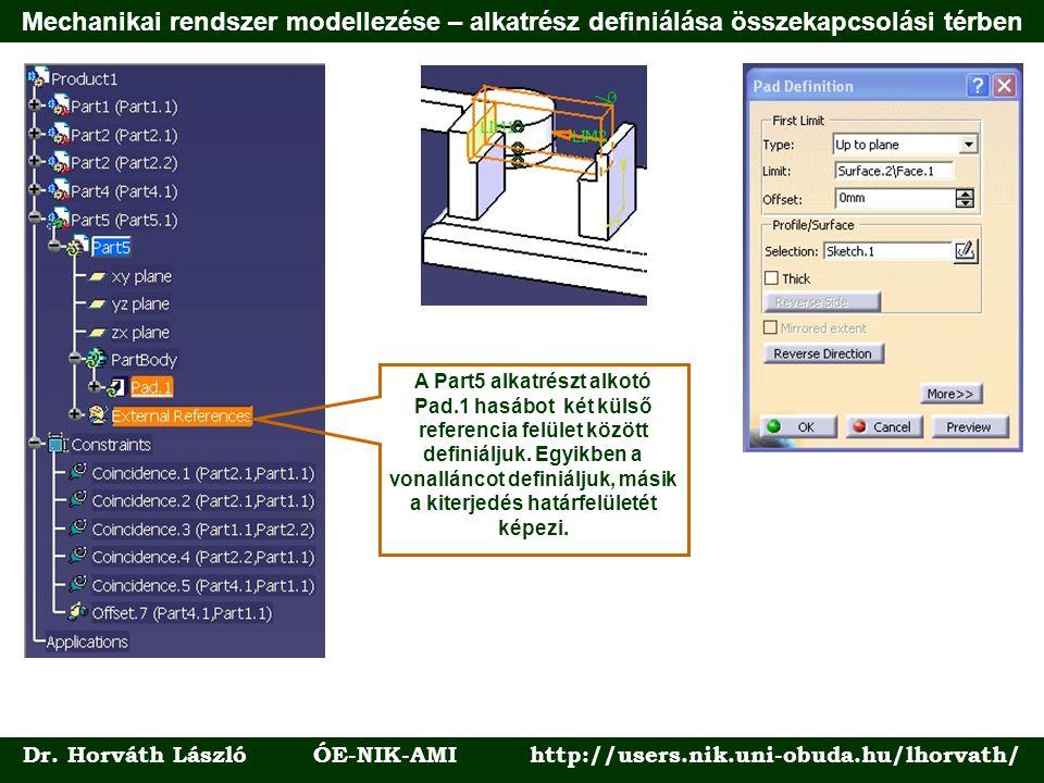Dr. Horváth László ÓE-NIK-AMI http://users.nik.uni-obuda.hu/lhorvath/ A Part5 alkatrészt alkotó Pad.1 hasábot két külső referencia felület között defi