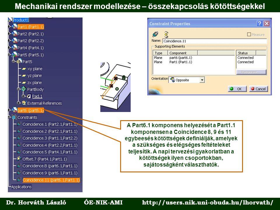 Dr. Horváth László ÓE-NIK-AMI http://users.nik.uni-obuda.hu/lhorvath/ A Part6.1 komponens helyezését a Part1.1 komponensen a Coincidence 8, 9 és 11 eg