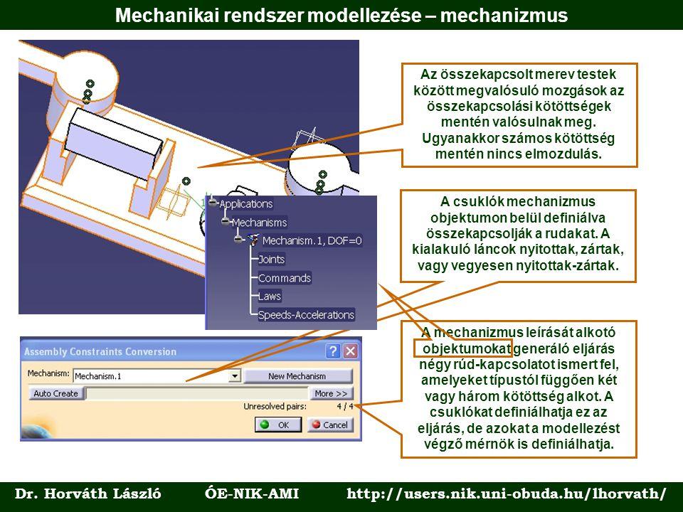 Dr. Horváth László ÓE-NIK-AMI http://users.nik.uni-obuda.hu/lhorvath/ Az összekapcsolt merev testek között megvalósuló mozgások az összekapcsolási köt