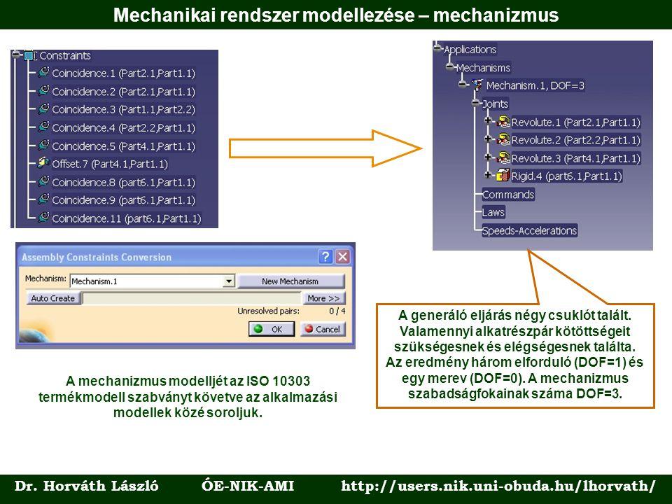 Dr. Horváth László ÓE-NIK-AMI http://users.nik.uni-obuda.hu/lhorvath/ A generáló eljárás négy csuklót talált. Valamennyi alkatrészpár kötöttségeit szü