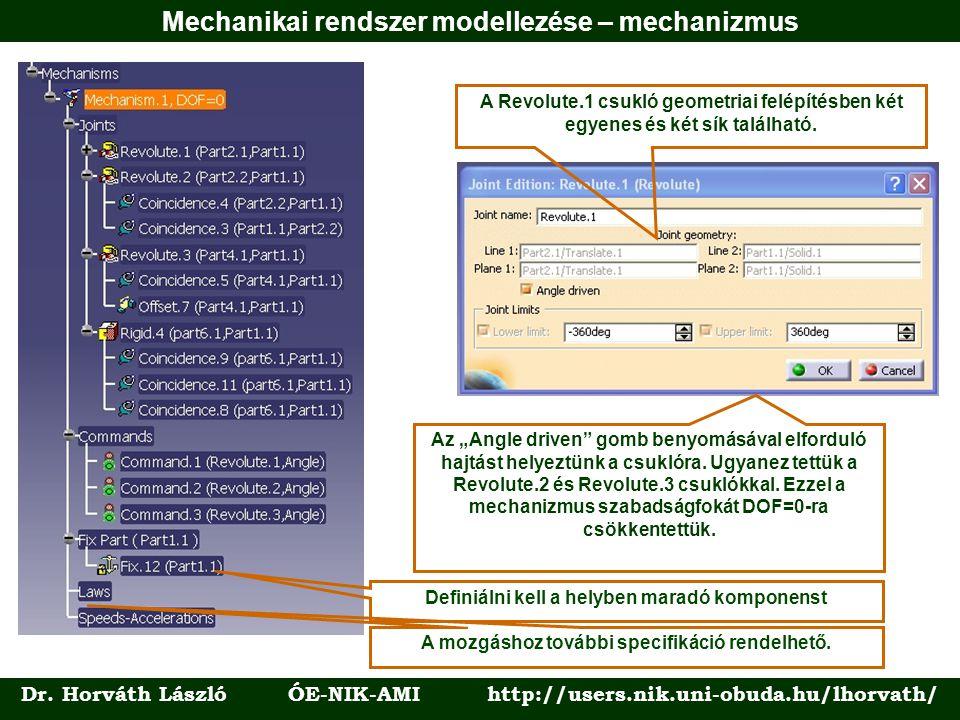"""Dr. Horváth László ÓE-NIK-AMI http://users.nik.uni-obuda.hu/lhorvath/ Az """"Angle driven"""" gomb benyomásával elforduló hajtást helyeztünk a csuklóra. Ugy"""