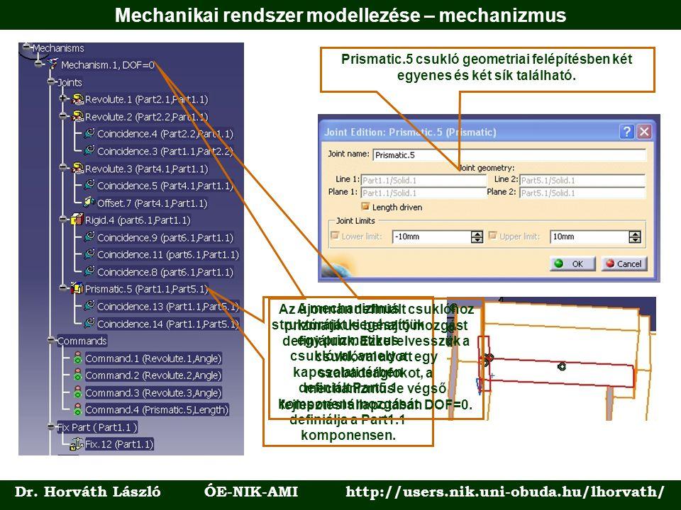 Dr. Horváth László ÓE-NIK-AMI http://users.nik.uni-obuda.hu/lhorvath/ Prismatic.5 csukló geometriai felépítésben két egyenes és két sík található. A m