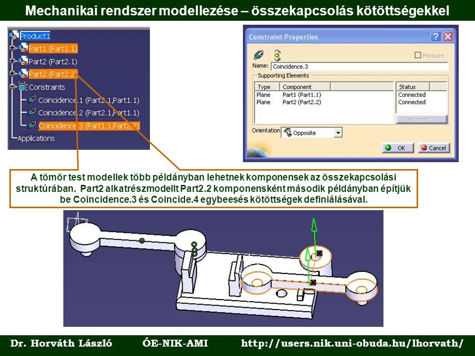 Dr. Horváth László ÓE-NIK-AMI http://users.nik.uni-obuda.hu/lhorvath/ A tömör test modellek több példányban lehetnek komponensek az összekapcsolási st