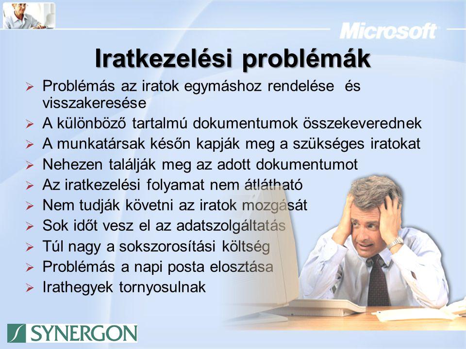 Iratkezelési problémák  Problémás az iratok egymáshoz rendelése és visszakeresése  A különböző tartalmú dokumentumok összekeverednek  A munkatársak