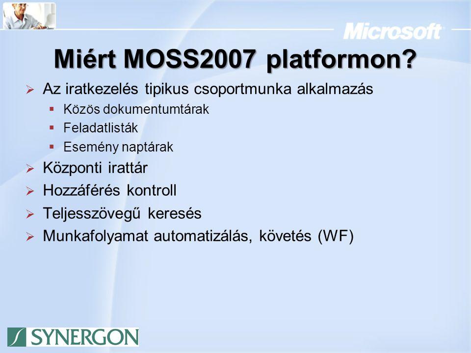 Architektúra Csoportmunka Dokumentumtárak / Irattár WEB űrlapok (Form Server) Workflow Kereső Speciális Iratkezelési Funkciók Synergon MOSS2007 alapú iratkezekő megoldása