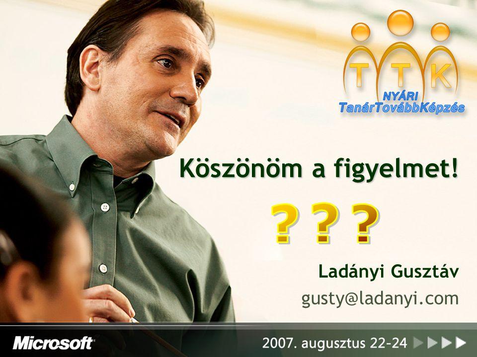 Köszönöm a figyelmet! Ladányi Gusztáv gusty@ladanyi.com