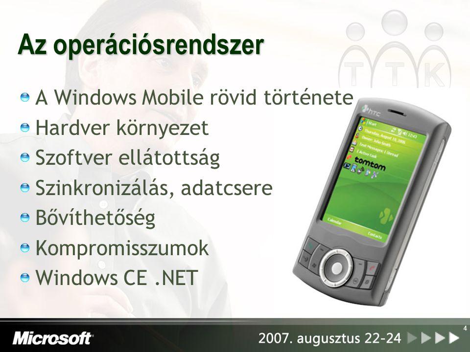 4 Az operációsrendszer A Windows Mobile rövid története Hardver környezet Szoftver ellátottság Szinkronizálás, adatcsere Bővíthetőség Kompromisszumok Windows CE.NET
