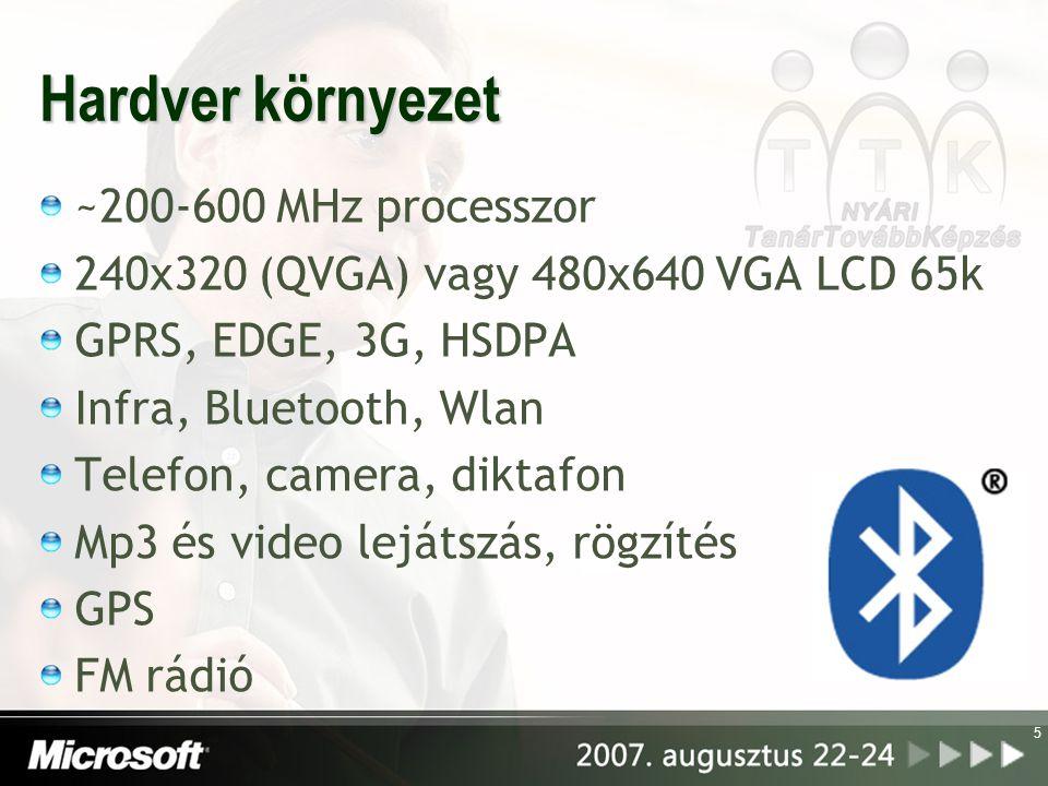 5 Hardver környezet ~200-600 MHz processzor 240x320 (QVGA) vagy 480x640 VGA LCD 65k GPRS, EDGE, 3G, HSDPA Infra, Bluetooth, Wlan Telefon, camera, diktafon Mp3 és video lejátszás, rögzítés GPS FM rádió