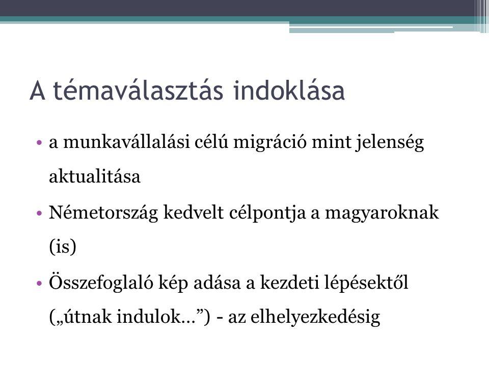 A témaválasztás indoklása a munkavállalási célú migráció mint jelenség aktualitása Németország kedvelt célpontja a magyaroknak (is) Összefoglaló kép a