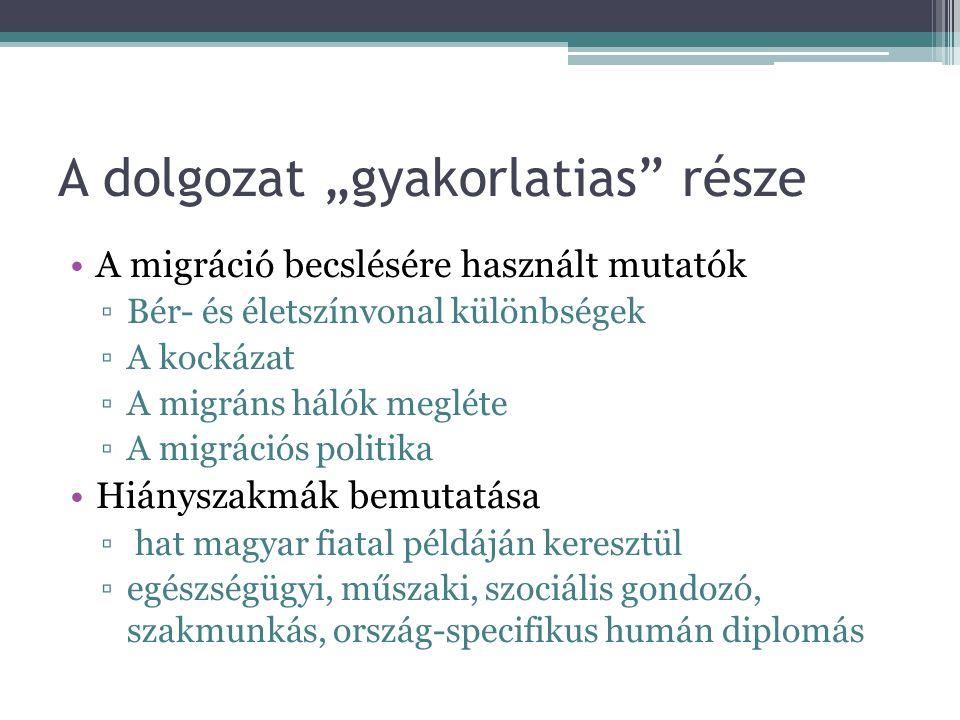"""A dolgozat """"gyakorlatias"""" része A migráció becslésére használt mutatók ▫Bér- és életszínvonal különbségek ▫A kockázat ▫A migráns hálók megléte ▫A migr"""