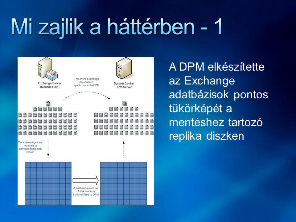 A DPM elkészítette az Exchange adatbázisok pontos tükörképét a mentéshez tartozó replika diszken