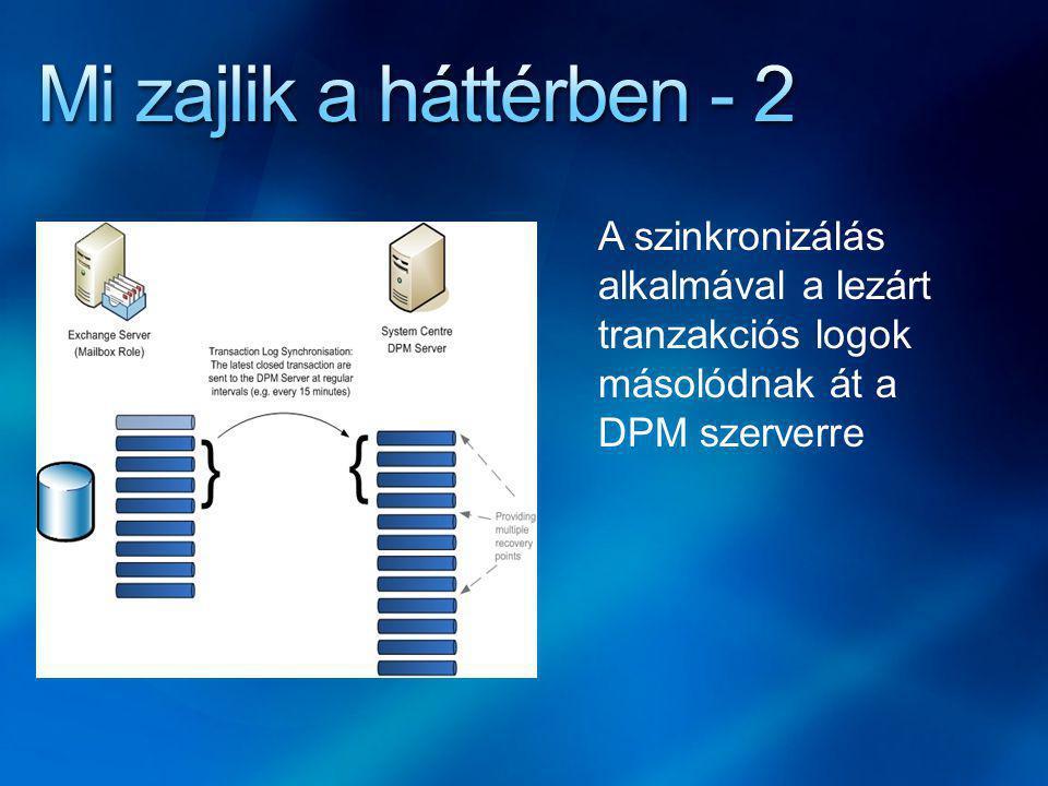 A szinkronizálás alkalmával a lezárt tranzakciós logok másolódnak át a DPM szerverre