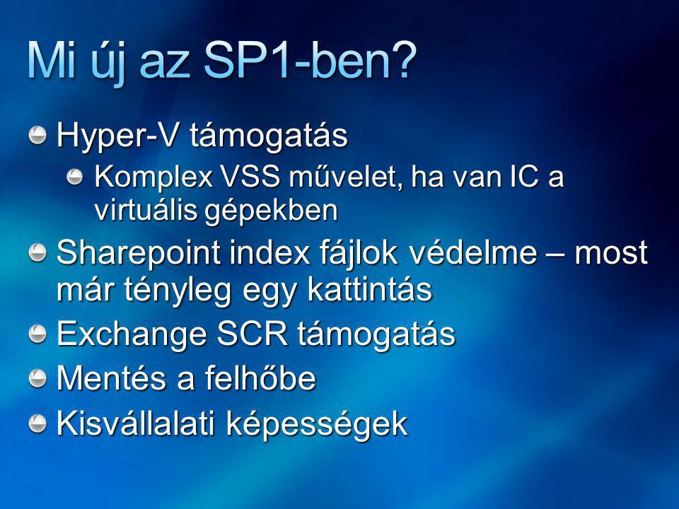 Hyper-V támogatás Komplex VSS művelet, ha van IC a virtuális gépekben Sharepoint index fájlok védelme – most már tényleg egy kattintás Exchange SCR támogatás Mentés a felhőbe Kisvállalati képességek