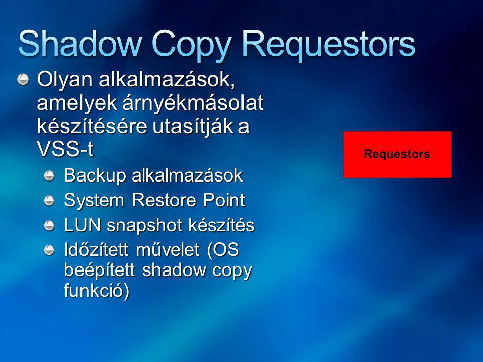 Olyan alkalmazások, amelyek árnyékmásolat készítésére utasítják a VSS-t Backup alkalmazások System Restore Point LUN snapshot készítés Időzített művelet (OS beépített shadow copy funkció)