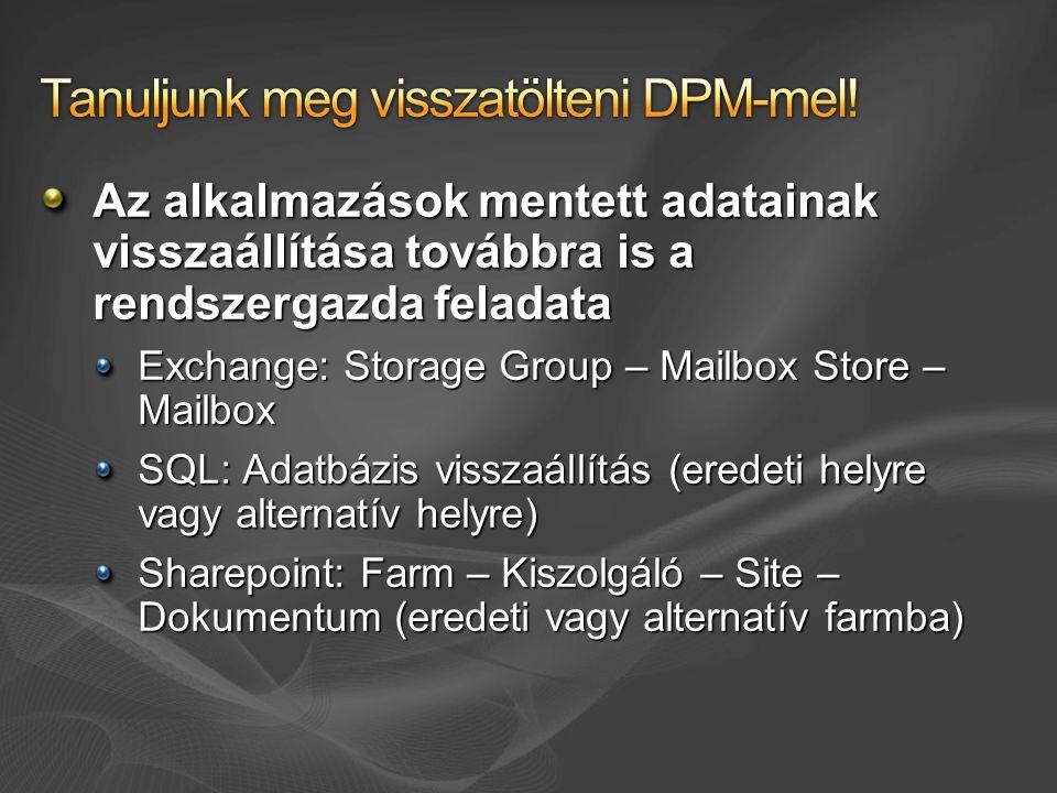 Az alkalmazások mentett adatainak visszaállítása továbbra is a rendszergazda feladata Exchange: Storage Group – Mailbox Store – Mailbox SQL: Adatbázis visszaállítás (eredeti helyre vagy alternatív helyre) Sharepoint: Farm – Kiszolgáló – Site – Dokumentum (eredeti vagy alternatív farmba)