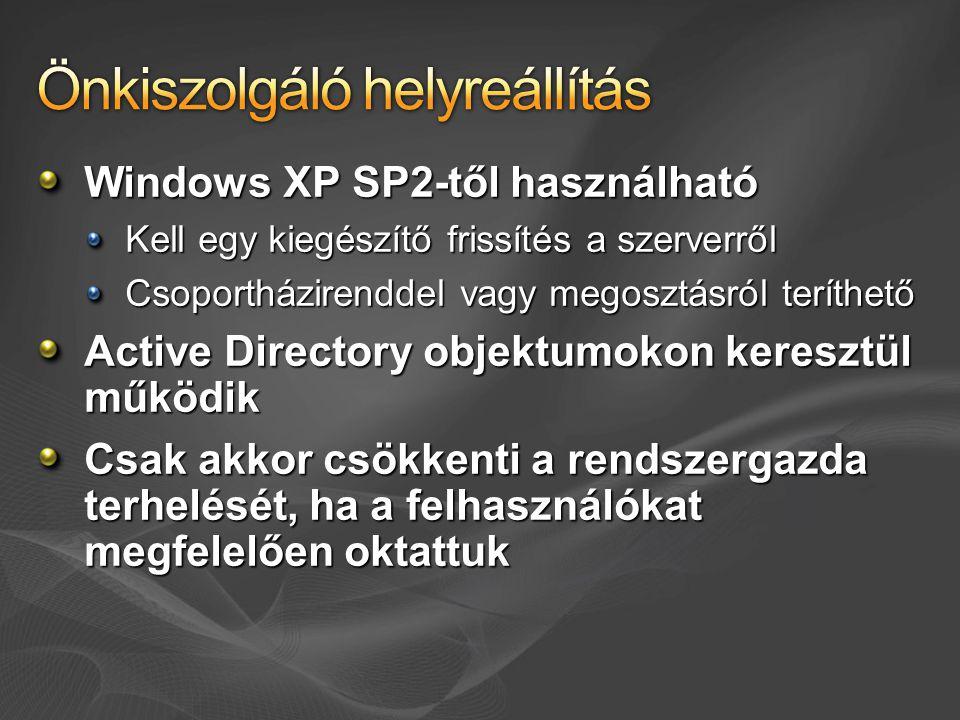 Windows XP SP2-től használható Kell egy kiegészítő frissítés a szerverről Csoportházirenddel vagy megosztásról teríthető Active Directory objektumokon keresztül működik Csak akkor csökkenti a rendszergazda terhelését, ha a felhasználókat megfelelően oktattuk