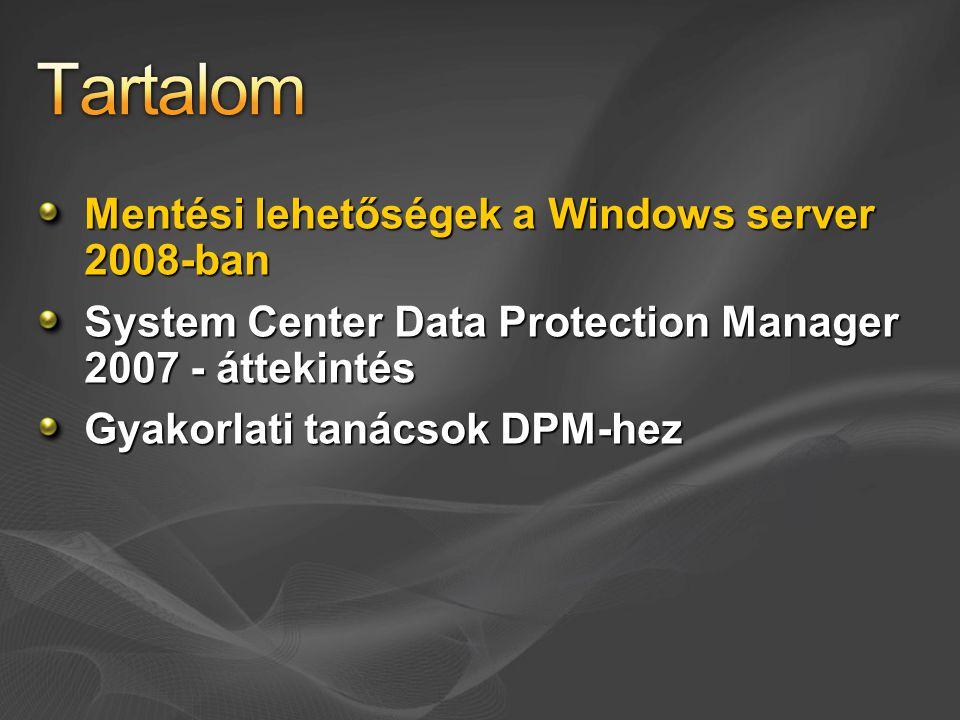 A Windows Server 2008-cal nyugdíjba vonult Csak régebbi mentések visszaállítására támogatott Vistán és Windows Server 2008-on http://www.microsoft.com/downloads/details.aspx?FamilyID=7da7 25e2-8b69-4c65-afa3-2a53107d54a7&DisplayLang=en