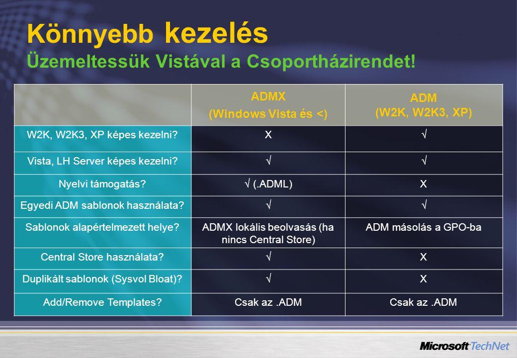ADMX (Windows Vista és <) ADM (W2K, W2K3, XP) W2K, W2K3, XP képes kezelni?X√ Vista, LH Server képes kezelni?√√ Nyelvi támogatás?√ (.ADML)X Egyedi ADM sablonok használata?√√ Sablonok alapértelmezett helye?ADMX lokális beolvasás (ha nincs Central Store) ADM másolás a GPO-ba Central Store használata?√X Duplikált sablonok (Sysvol Bloat)?√X Add/Remove Templates?Csak az.ADM Könnyebb kezelés Üzemeltessük Vistával a Csoportházirendet!