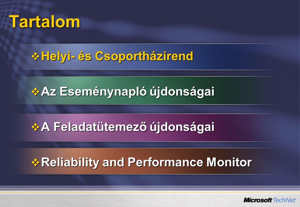 Működéssel kapcsolatos változások   Kétszintű naplózás   Admin események (System log)   Célpontja a felhasználók, adminok   Jelentés egy problémáról (pl.