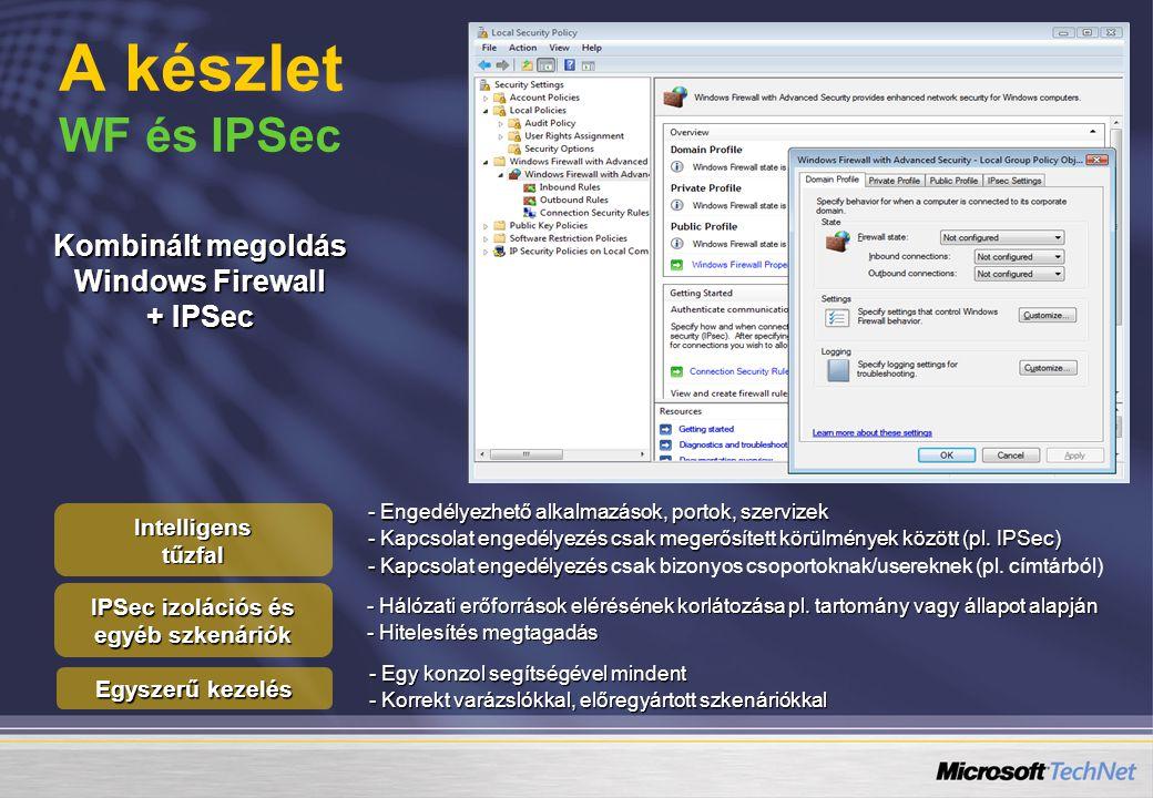 A készlet WF és IPSec - Egy konzol segítségével mindent - Korrekt varázslókkal, előregyártott szkenáriókkal - Hálózati erőforrások elérésének korlátozása pl.