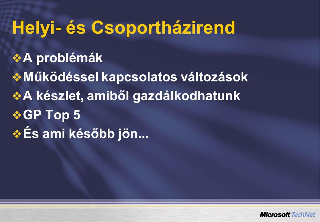 Helyi- és Csoportházirend   A problémák   Működéssel kapcsolatos változások   A készlet, amiből gazdálkodhatunk   GP Top 5   És ami később jön...
