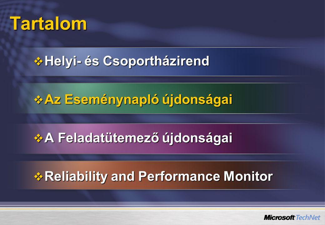 Tartalom  Helyi- és Csoportházirend  Az Eseménynapló újdonságai  A Feladatütemező újdonságai  Reliability and Performance Monitor