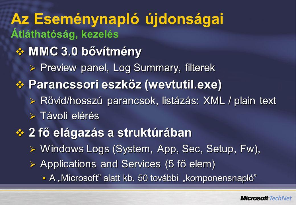 """ MMC 3.0 bővítmény  Preview panel, Log Summary, filterek  Parancssori eszköz (wevtutil.exe)  Rövid/hosszú parancsok, listázás: XML / plain text  Távoli elérés  2 fő elágazás a struktúrában  Windows Logs (System, App, Sec, Setup, Fw),  Applications and Services (5 fő elem)  A """"Microsoft alatt kb."""
