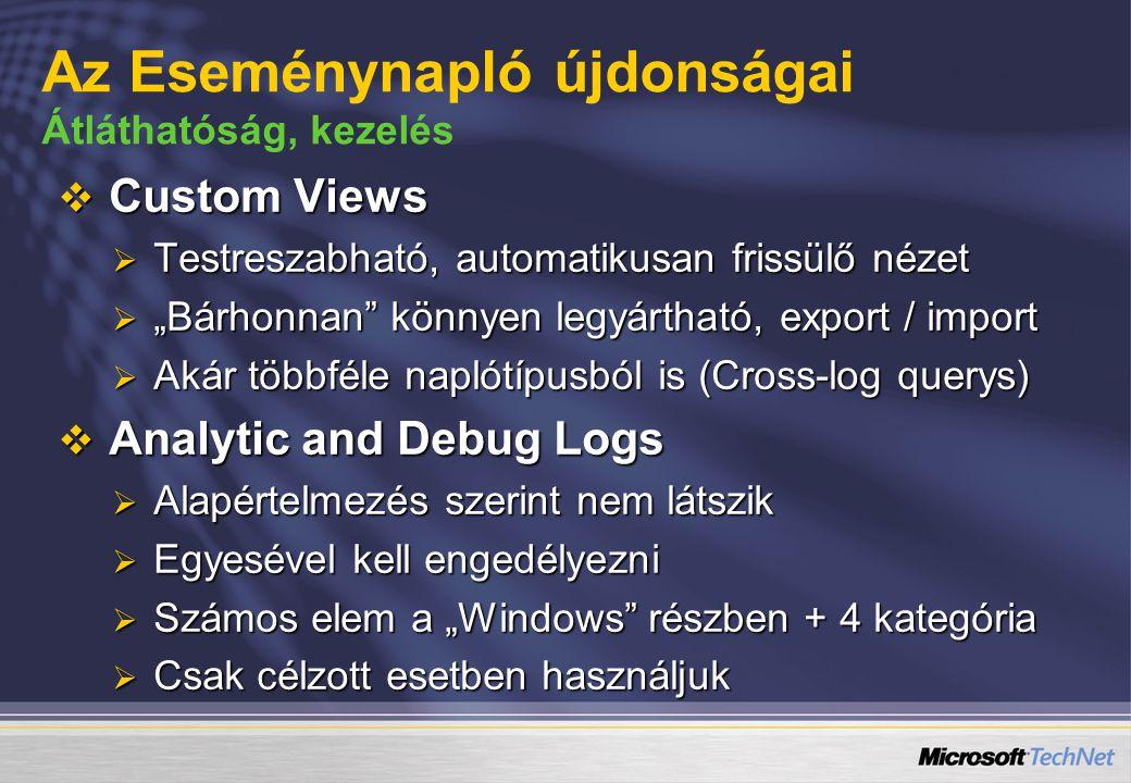 """ Custom Views  Testreszabható, automatikusan frissülő nézet  """"Bárhonnan"""" könnyen legyártható, export / import  Akár többféle naplótípusból is (Cro"""