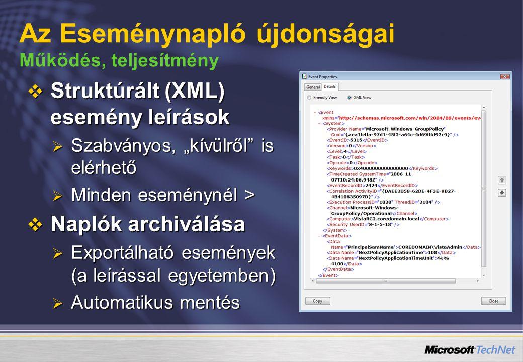 """ Struktúrált (XML) esemény leírások  Szabványos, """"kívülről is elérhető  Minden eseménynél >  Naplók archiválása  Exportálható események (a leírással egyetemben)  Automatikus mentés Az Eseménynapló újdonságai Működés, teljesítmény"""