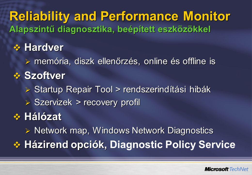  Hardver  memória, diszk ellenőrzés, online és offline is  Szoftver  Startup Repair Tool > rendszerindítási hibák  Szervizek > recovery profil  Hálózat  Network map, Windows Network Diagnostics  Házirend opciók,  Házirend opciók, Diagnostic Policy Service Reliability and Performance Monitor Alapszintű diagnosztika, beépített eszközökkel