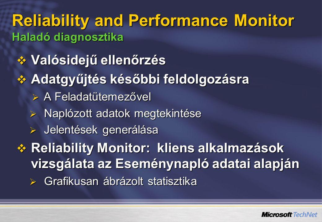  Valósidejű ellenőrzés  Adatgyűjtés későbbi feldolgozásra  A Feladatütemezővel  Naplózott adatok megtekintése  Jelentések generálása  Reliability Monitor: kliens alkalmazások vizsgálata az Eseménynapló adatai alapján  Grafikusan ábrázolt statisztika Reliability and Performance Monitor Haladó diagnosztika