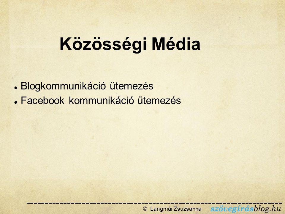 Blogkommunikáció ütemezés Facebook kommunikáció ütemezés © Langmár Zsuzsanna  Közösségi Média --------------------------------------------------------------------- ------