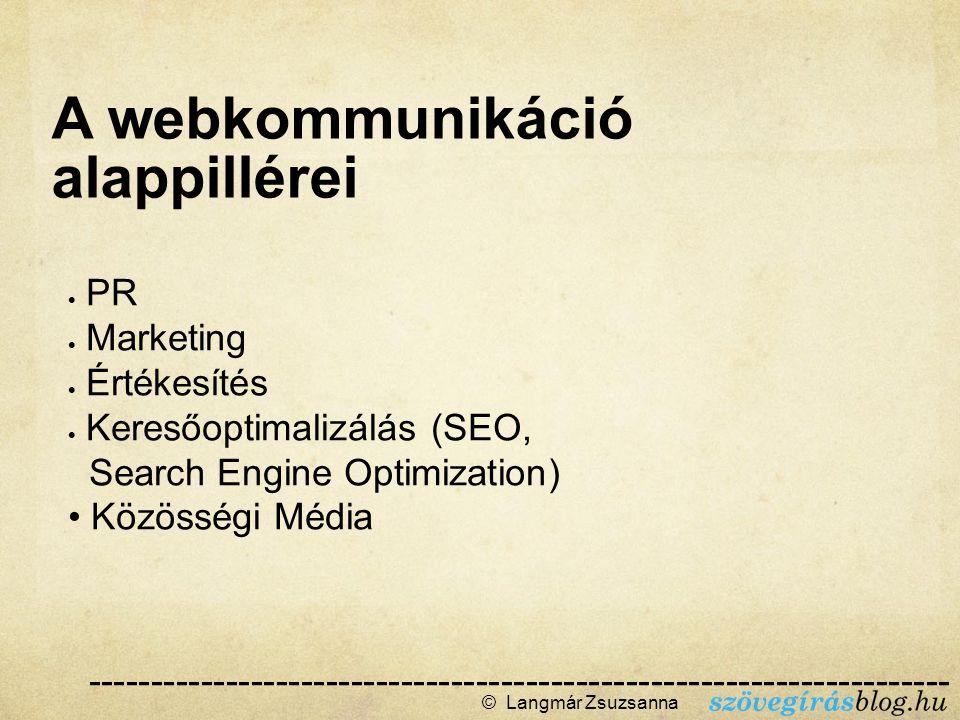 © Langmár Zsuzsanna  A webkommunikáció alappillérei --------------------------------------------------------------------- ------  PR  Marketing  Értékesítés  Keresőoptimalizálás (SEO, Search Engine Optimization) Közösségi Média