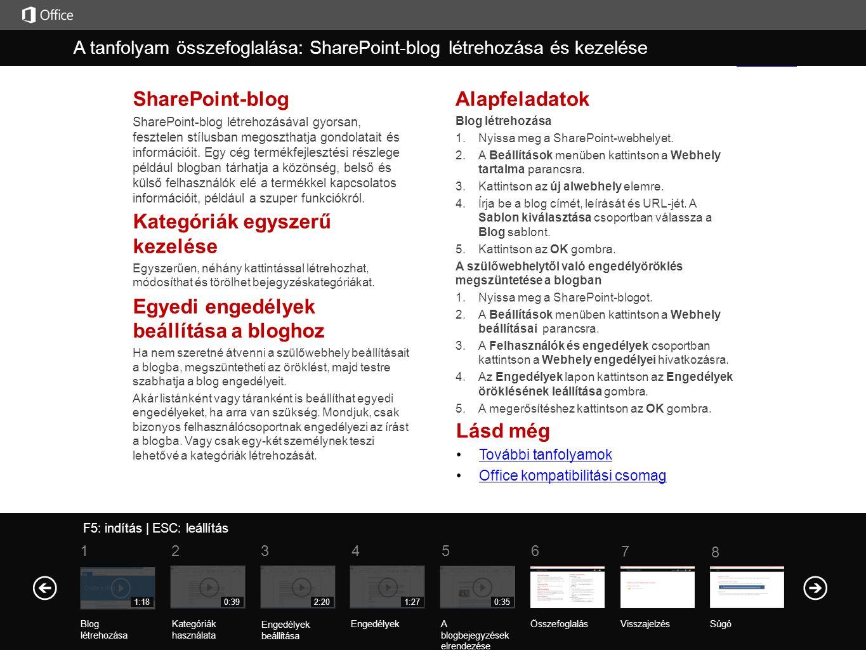 Lásd még További tanfolyamok Office kompatibilitási csomag SharePoint-blog SharePoint-blog létrehozásával gyorsan, fesztelen stílusban megoszthatja go